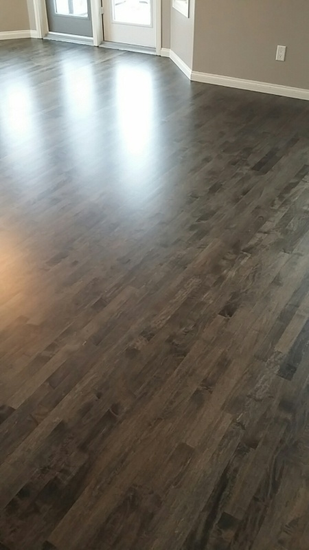 Refinish Of Prefinished Maple Floor With Custom Stain